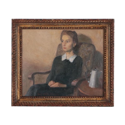 Guy Pène Du Bois Oil Figure Painting of Seated Woman