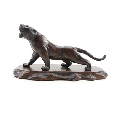 Genryusai Seiya  Bronze Tiger Sculpture, Meiji Period