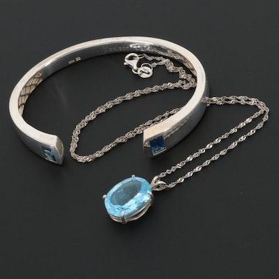 Sterling Silver Topaz Necklace and Bracelet