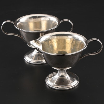 Webster Weighted Sterling Silver Creamer and Sugar Bowl, Early/Mid 20th Century