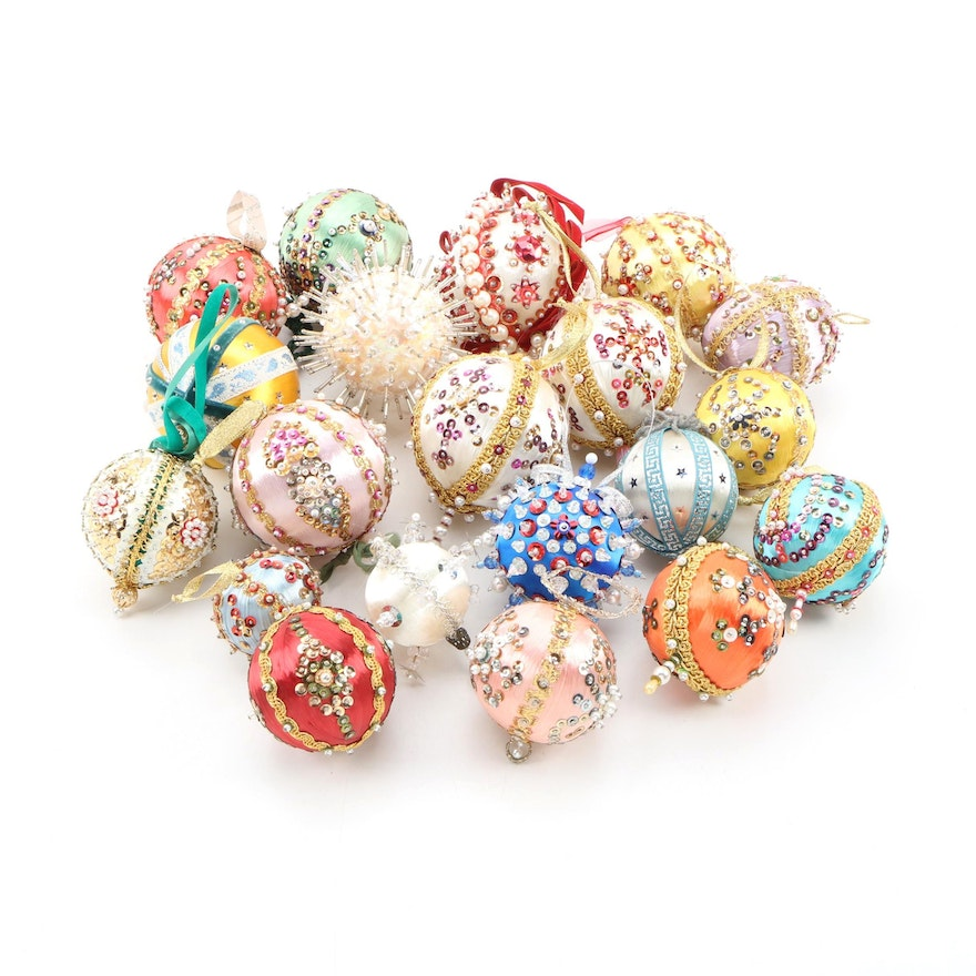 Victorian Style Bead and Sequin Christmas Ornaments