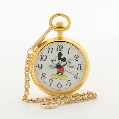 Mickey Mouse Verichron Quartz Pocket Watch With Case