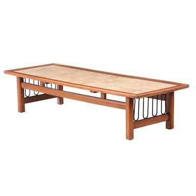Mid Century Modern Walnut Framed Travertine Coffee Table, Mid-20th Century