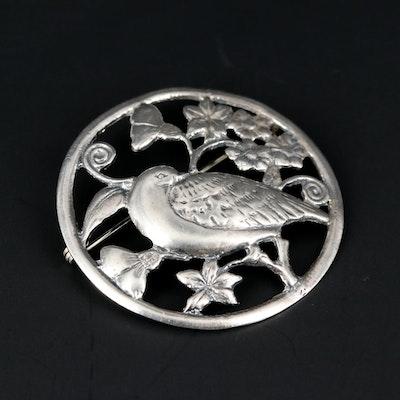 Sterling Silver Round Bird Brooch