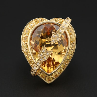 18K Yellow Gold, Citrine, Yellow Sapphire and Diamond Ring
