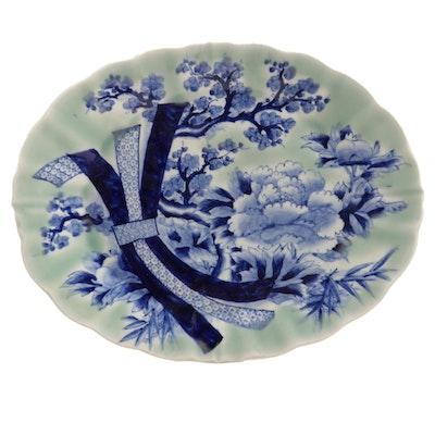 Japanese Celadon Imari Ceramic Platter, Meiji Period