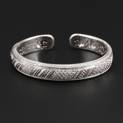 Judith Ripka Sterling Silver Cubic Zirconia Hinged Cuff Bracelet