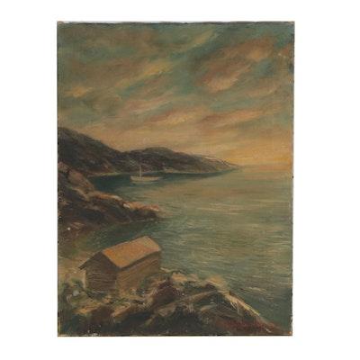 Landscape Oil Painting of Coastal Scene, Mid 20th Century