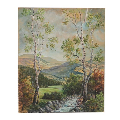 Mountain Landscape Watercolor Painting, Early 20th Century