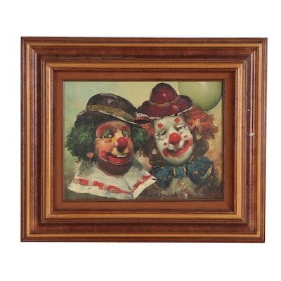 William Moninet Oil Portrait of Clowns, Mid 20th Century