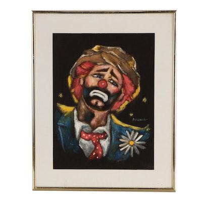 Petrella Portrait Oil Painting of Sad Clown
