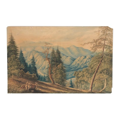 Late 19th Century Landscape Watercolor Painting