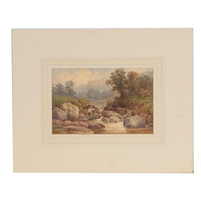 """Samuel Henry Baker Watercolor Painting """"On the Frystion"""""""