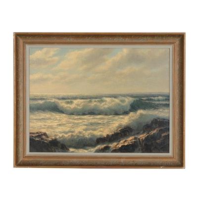 Josef M. Arentz Seascape Oil Painting, Mid 20th Century