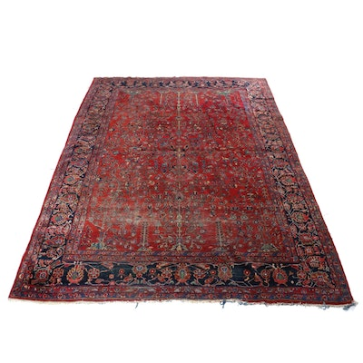 8'9 x 11'9 Hand-Knotted Persian Sarouk Room-Size Rug, Antique