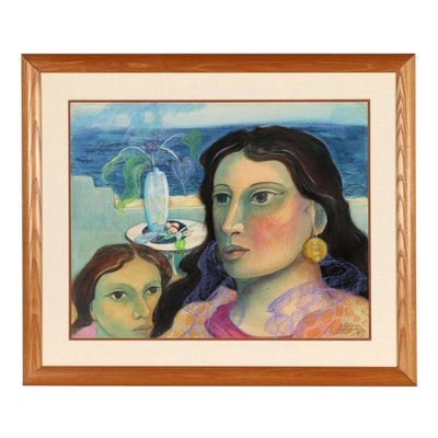 Miguel Martinez Oil Pastel Painting of Mother and Daughter, 1987