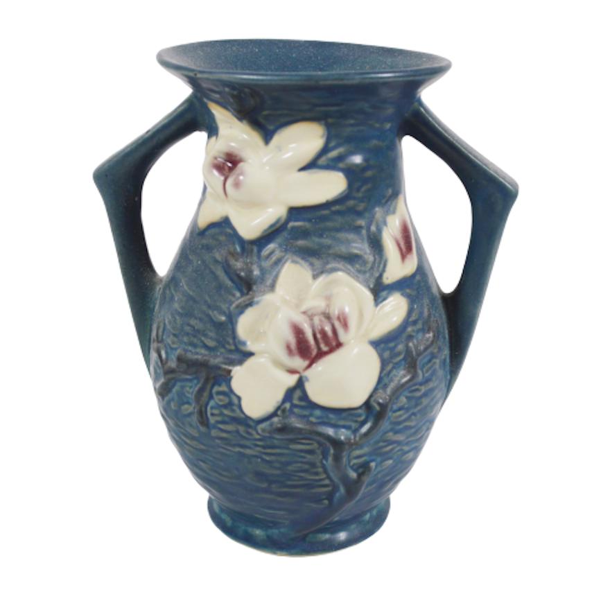 Roseville Pottery Magnolia Blue Handled Vase, Vintage