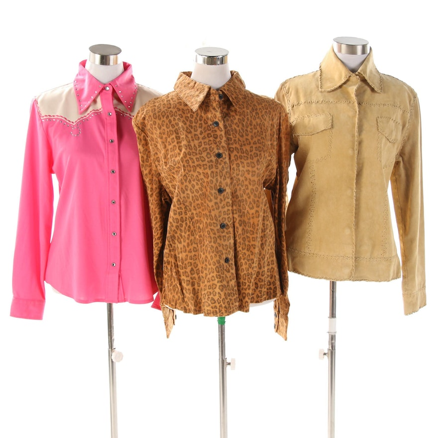 Doreman Burns Cowgirls Embellished Shirt with Other Suede Jacket and Shirt