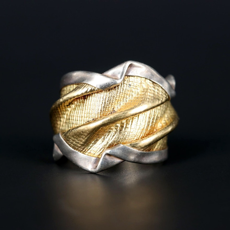 Sterling Silver and 18K Yellow Gold Ring with Textured Accent