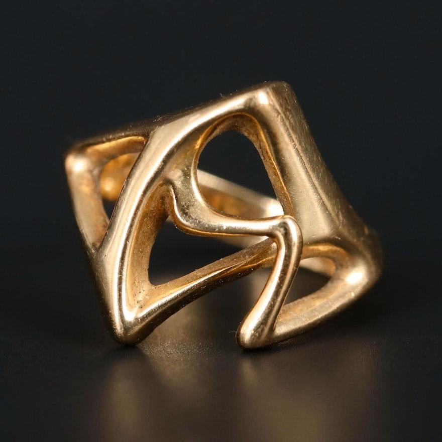 14K Yellow Gold Freeform Ring