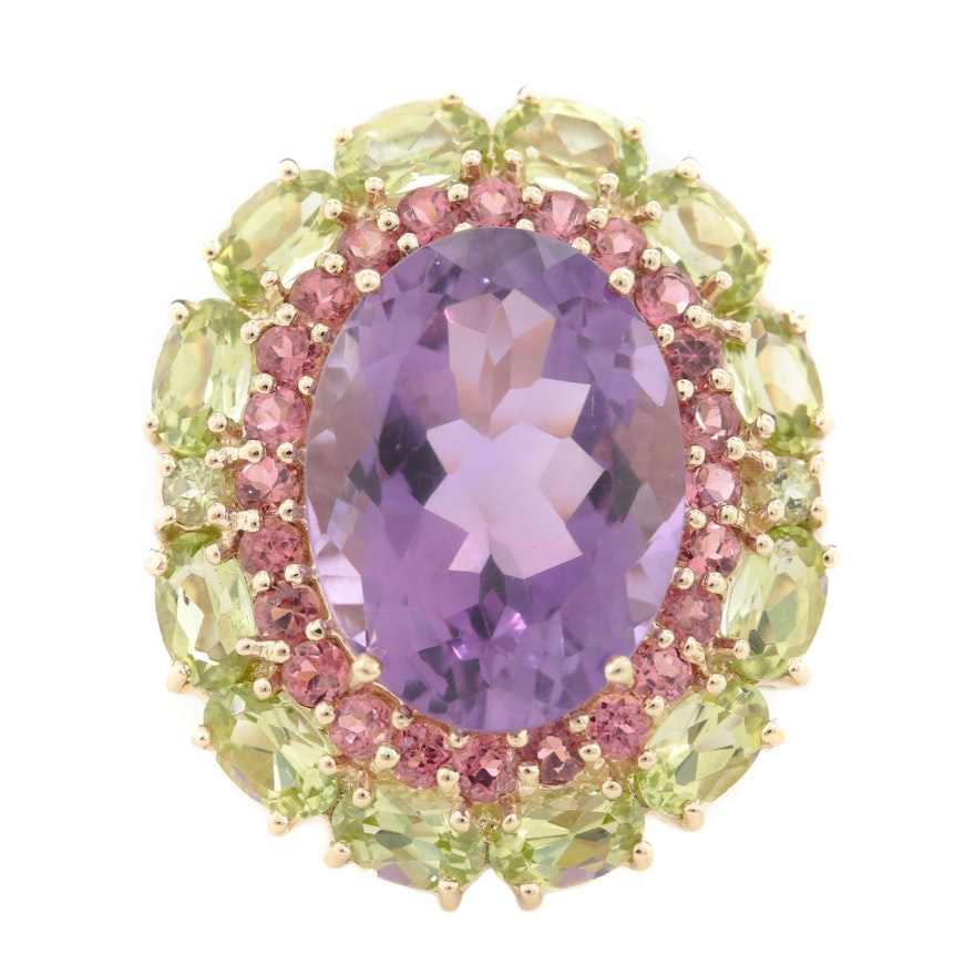 10K Yellow Gold 9.39 CT Amethyst, Pink Tourmaline and Peridot Ring