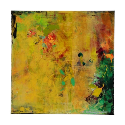 "Mark Whitmarsh Abstract Acrylic Painting ""Devine Garden"""