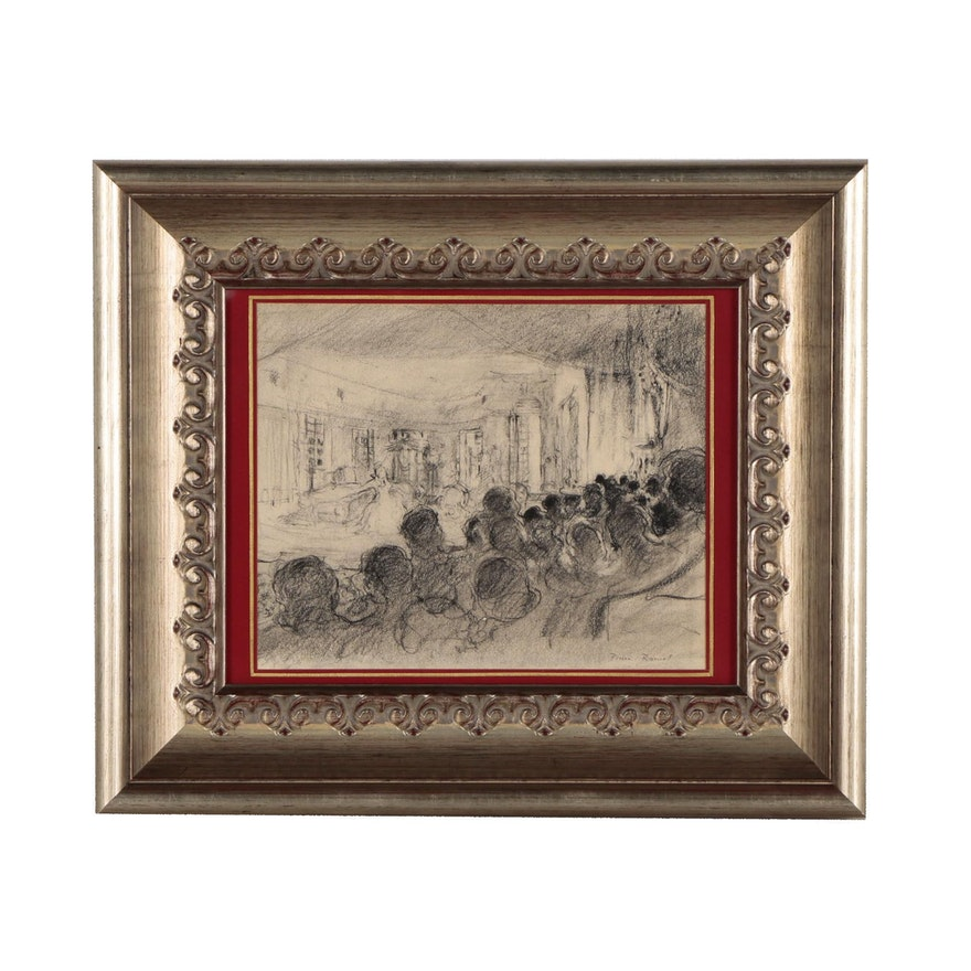 Pierre Roussel Charcoal Illustration of Theater Scene