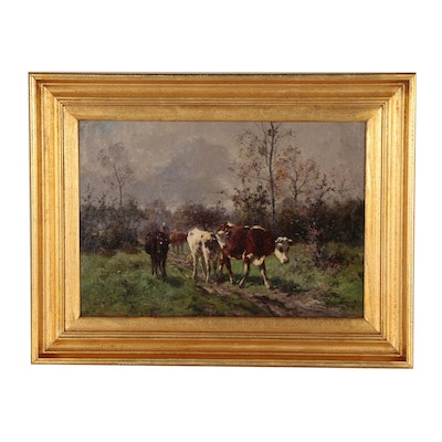 Aymar Alexandre Pezant Oil Painting of Pastoral Landscape with Cattle