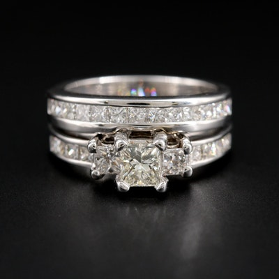 14K White Gold 1.71 CTW Diamond Ring Set