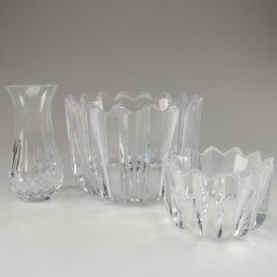 "Waterford Crystal ""Lismore"" Bud Vase and Orrefors ""Fleur"" Crystal Bowls"