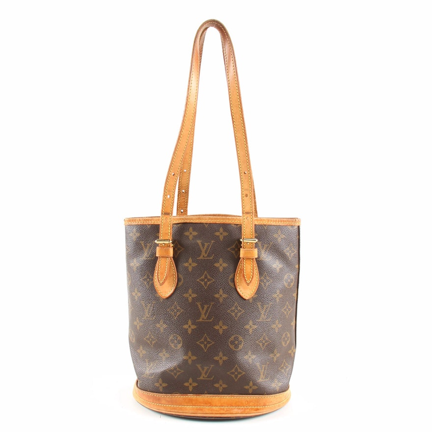 Louis Vuitton Petite Bucket Bag in Monogram Canvas and Leather