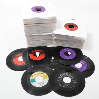 Frank Sinatra, The Flamingos and Other 45 RPM Vinyl Records, Mid-Century
