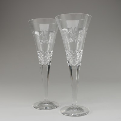 "Waterford Crystal Millennium Series ""Peace"" Fluted Champagne Glasses"