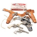 Western Themed Toy Cap Guns or Pistols with Holsters, circa 1950s-1960s