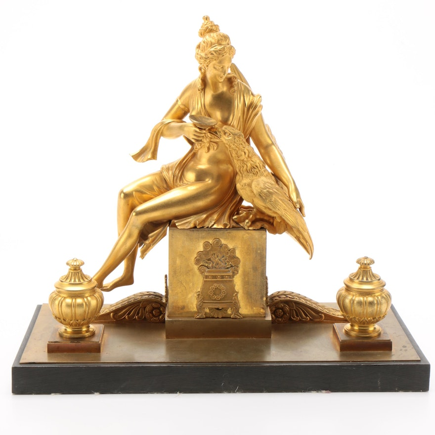 Continental Gilt Metal Double Inkwell with Eagle and Nude Sculpture