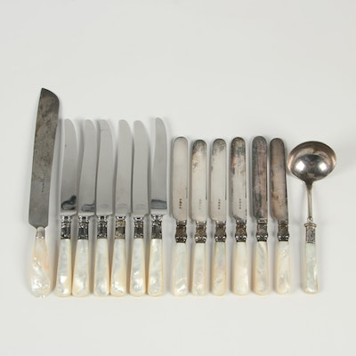 Sterling Silver and Stainless Steel Knives with Mother-of-Pearl Handles