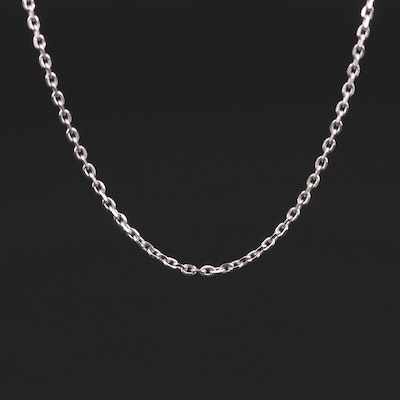 14K White Gold Cable Link Necklace