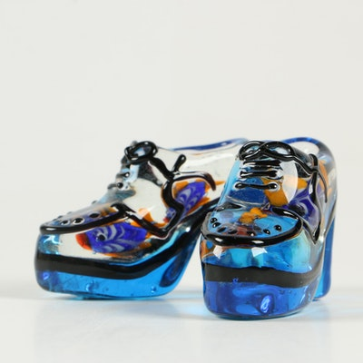 Global Village Glass Shoe Paperweights