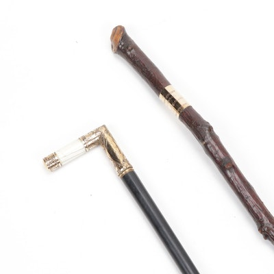 Gold Plate Acanthus Leaf Engraved Walking Stick and Cane