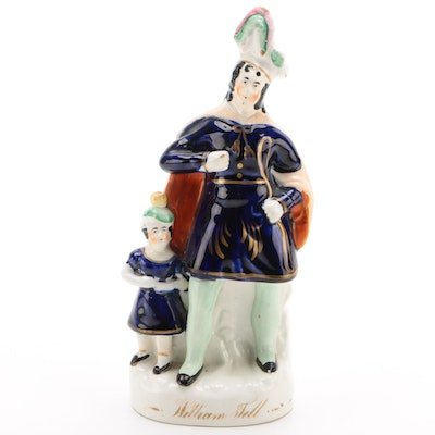 "Staffordshire ""William Tell"" Ceramic Figurine, Antique"
