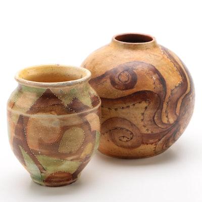Greek Style Octopus Motif Vase and Geometric Vessel