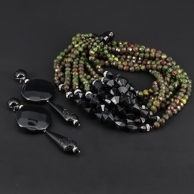 Angela Caputi Multi-Strand Beaded Necklace and Clip-On Statement Earrings