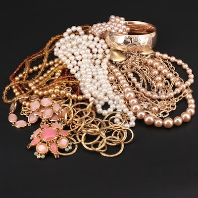 Assorted Bracelets and Necklaces Featuring Cultured Pearls, Rhinestones and More