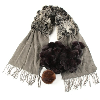 Rabbit Fur Accessories Featuring J. McLaughlin Scarf with Cashmere