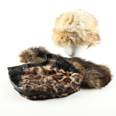 Harricana Tanuki Fur Hat, Racoon Fur Stole with Rabbit Fur and Calf Hair Handbag