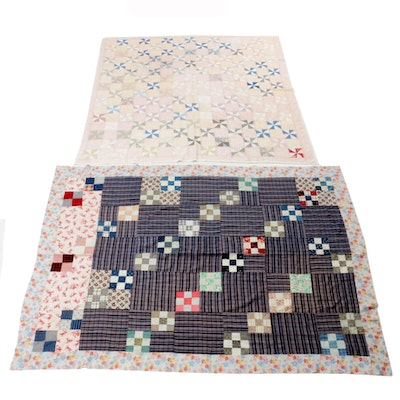 """Pinwheel"" Pattern Quilt and ""Nine Patch"" Quilt Top"
