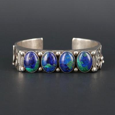 Fritzen Toledo Navajo Diné Sterling Silver Azurmalachite Cuff Bracelets
