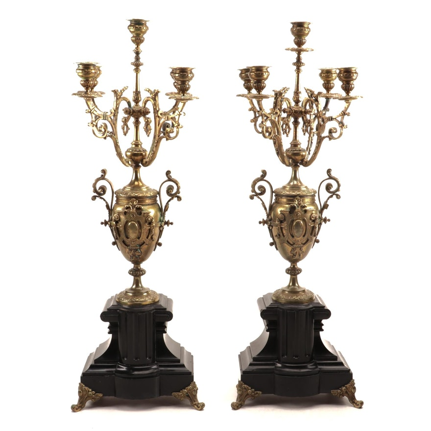 Pair of Neoclassical Brass and Slate Mantle Candelabra, 19th Century