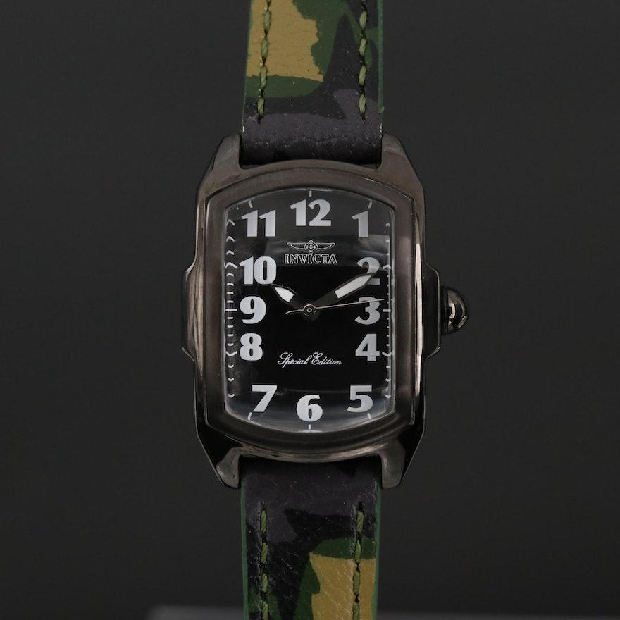 Invicta Lupah Black Steel Quartz Wristwatch