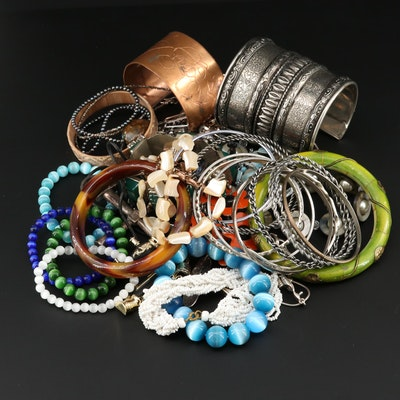 Assorted Jewelry Featuring Glass, Pearl and Shell